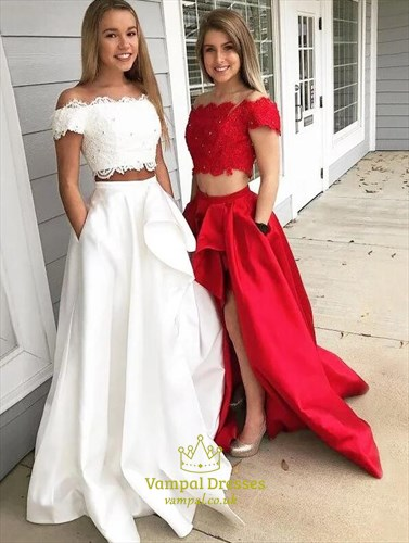 A Line Beaded Lace Applique Satin Two Piece Prom Dress With Pockets