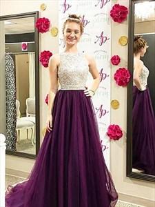 Bateau Beaded Tulle Floor Length A Line Prom Dress With Train