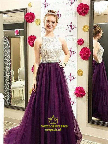 Bateau Beaded Tulle Floor Length A Line Prom Dress With Train