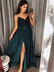 778e7a8b44 A Line Spaghetti Strap Pleated Satin Prom Dress With Split In Front