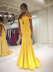 Yellow Backless Cross Neck Keyhole Mermaid Prom Dress With Train