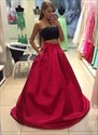 Red Strapless Beaded Floor Length Satin Two Piece Prom Dress
