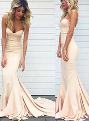 Sweetheart Neckline Floor Length Satin Mermaid Prom Dress With Train