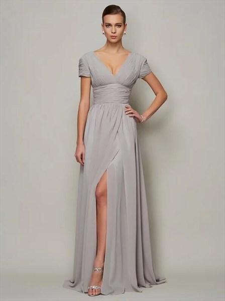 V Neck Short Sleeve Ruched Floor Length Prom Dress With Split