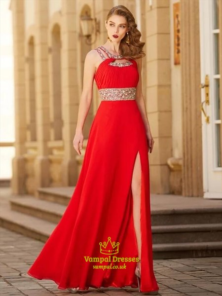 A Line Red Halter Keyhole Beaded Ruched Chiffon Prom Dress With Split