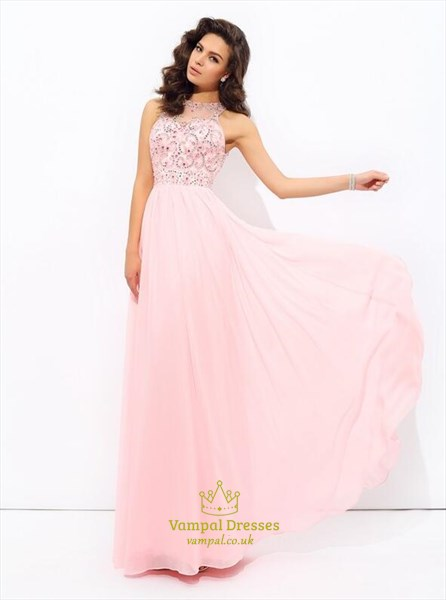 Pink High Neck Beaded Pleated V Back Floor Length Chiffon Prom Dress