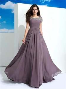 Grey Purple Bateau Short Sleeve Beaded Ruched Floor Length Prom Dress