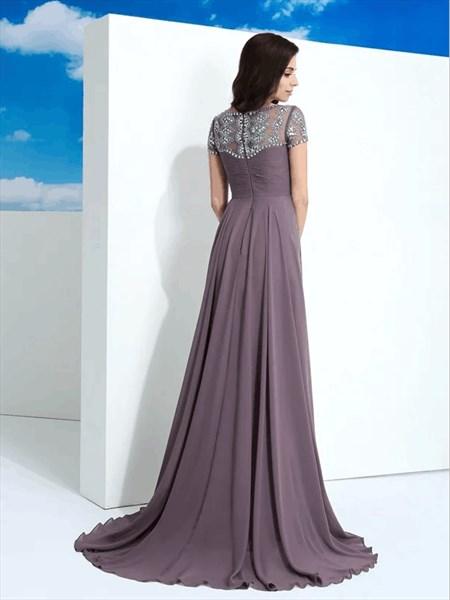 Grey Purple Bateau Short Sleeve Beaded Ruched Floor Length Prom Dress