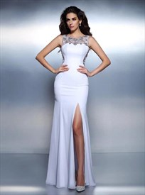 Bateau Neckline Beaded Floor Length Chiffon Prom Dress With Train