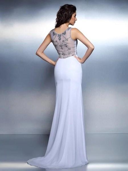 Bateau Neckline Beaded Floor Length Chiffon Prom Dress With Train