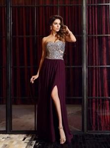 A Line Sweetheart Sleeveless Beaded Long Prom Dress With Side Cutout