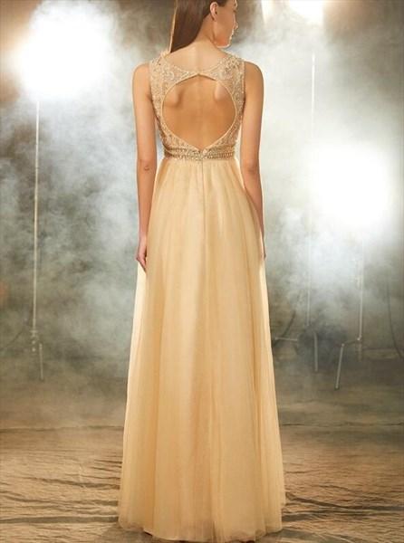 A Line Bateau Sleeveless Beaded Keyhole Tulle Floor Length Prom Dress