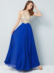 Royal Blue Sleeveless Beaded Bodice Chiffon Floor Length Prom Dresses