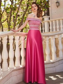 Fuchsia Off The Shoulder Beaded Satin Floor Length Prom Dress