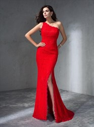 Red One Shoulder Sleeveless Sheath Floor Length Lace Prom Dress
