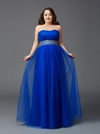 A Line Royal Blue Strapless Chiffon Long Prom Dress With Beaded Waist