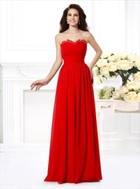Red Strapless Sleeveless Pleated Floor Length Chiffon Prom Dress
