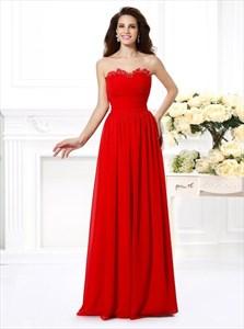 Red Strapless Sleeveless Pleated Floor Length Chiffon Prom Dress