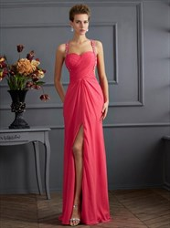 Watermelon Square Sleeveless Beaded Ruched Prom Dress With Split