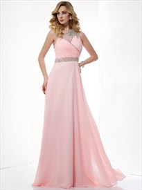 A Line Pink One Shoulder Beaded Floor Length Chiffon Prom Dress