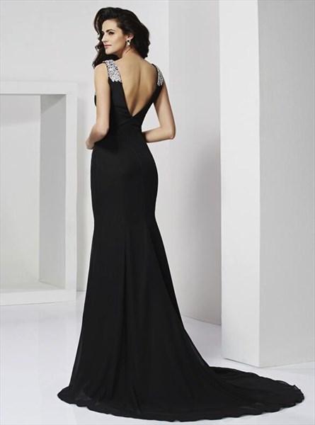 Black V Neck Sleeveless Sheath Floor Length Prom Dress With Split