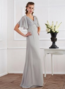 Grey Short Sleeve Lace Applique Ruched Empire Waist Long Prom Dress