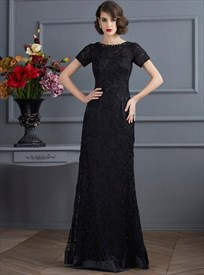 Black Bateau Neck Beaded Short Sleeve Sheath Lace Overlay Prom Dress