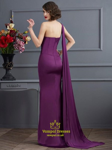 One Shoulder Sleeveless Sheath Floor Length Prom Dress With Ruched