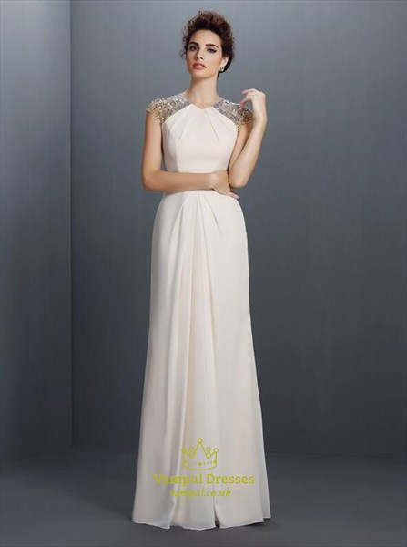 A Line Ivory High Neck Beaded Keyhole Floor Length Chiffon Prom Dress