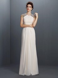 A Line Ivory High Neck Beaded Keyhole Floor Length Chiffon Prom Dress