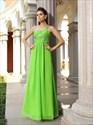 Lime Green A Line Beaded Straps Sleeveless Floor Length Prom Dress