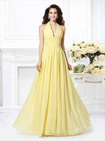 Daffodil Halter Neck Ruched Waist Floor Length Chiffon Prom Dress