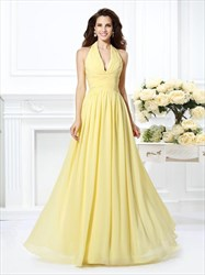 Daffodil Halter Neck Ruched Waist Floor Length Chiffon Prom Dress