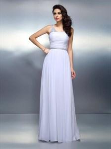 V Neck Sleeveless Ruched Beaded Floor Length Chiffon Prom Dress