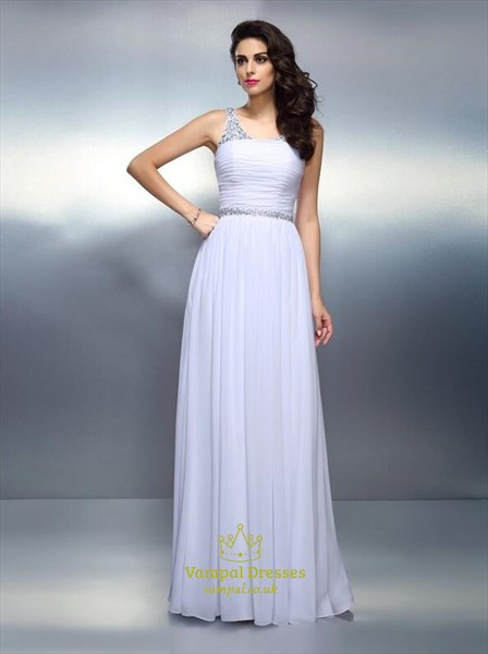 V Neck Sleeveless Ruched Beaded Floor Length Chiffon Prom Dress