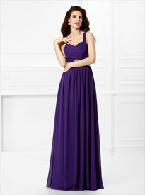 Purple A Line Square Neck Crystal Pleated Chiffon Long Prom Dress