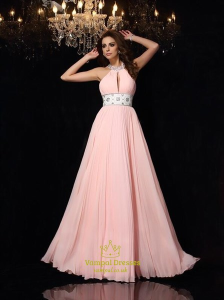 A Line Halter Neck Sleeveless Keyhole Pleated Prom Dress With Beaded