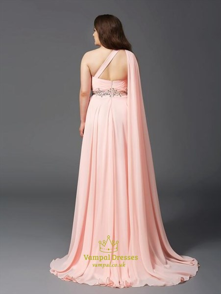 One Shoulder Sleeveless Crystal Chiffon Long Prom Dress With Cape