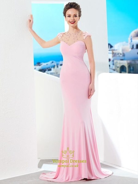 Pink High Neck Sleeveless Beaded Chiffon Prom Dress With Train
