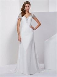 A Line Beaded Keyhole Floor Length Chiffon Prom Dress With Train