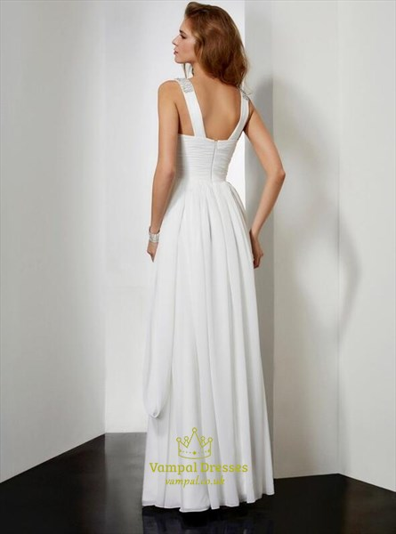 V Neck Beaded Sleeveless Pleated Floor Length Chiffon Prom Dress