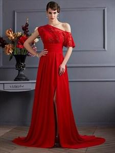 Asymmetrical Neckline Beaded Ruched Chiffon Prom Dress With Train