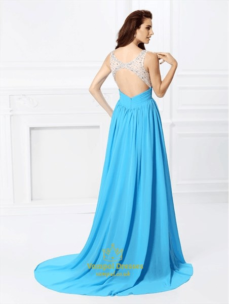 Bateau Neckline Sleeveless Keyhole Beaded Long Prom Dress With Train