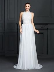 A Line High Neck Sleeveless Backless Beaded Chiffon Prom Dresses
