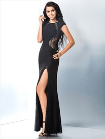 A Line Black Jewel Neck Floor Length Chiffon Prom Dress With Split