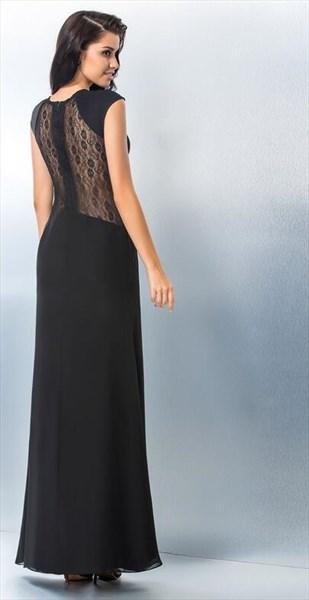 A Line Black Jewel Neck Floor Length Chiffon Prom Dress With Split