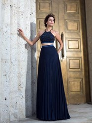 Halter Sleeveless Pleated Beaded Top Chiffon Two Piece Prom Dress