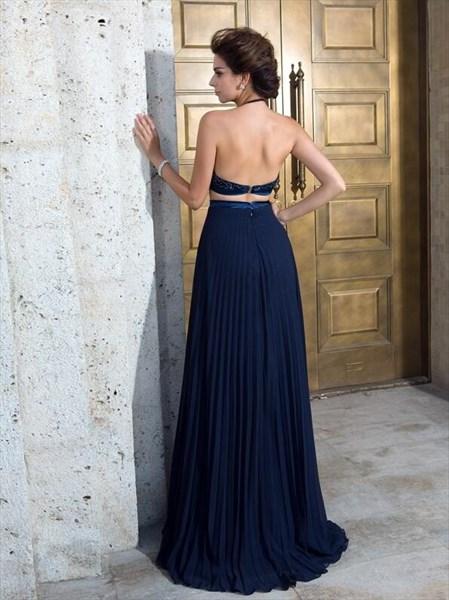 Halter Sleeveless Pleated Beaded Top Chiffon Two Piece Prom Dress
