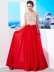 Red Sweetheart Neckline Beaded Applique Pleated Chiffon Prom Dress