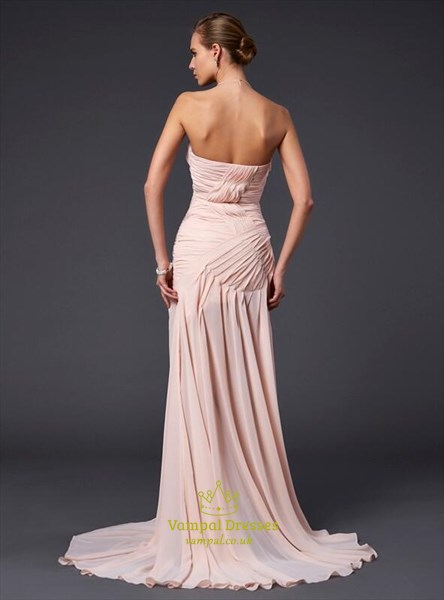 Sweetheart Ruched Floor Length Prom Dress With Split And Train